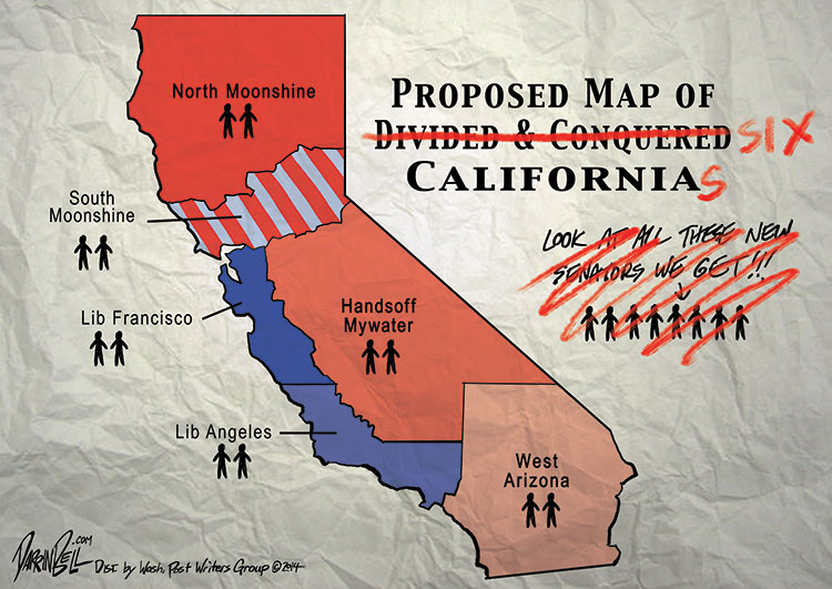 The Rough Draft of the Proposed Map of Six Californias