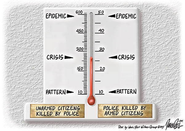Police shoot unarmed civilians, armed civilians shoot police, and the reaction suggest that some Americans do not value all lives equally.