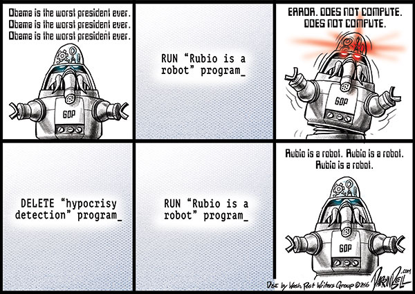 "Everyone, including the GOP, is calling Rubio a ""robot."""