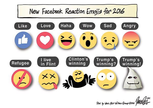 Facebook's new Reaction Emojis for 2016