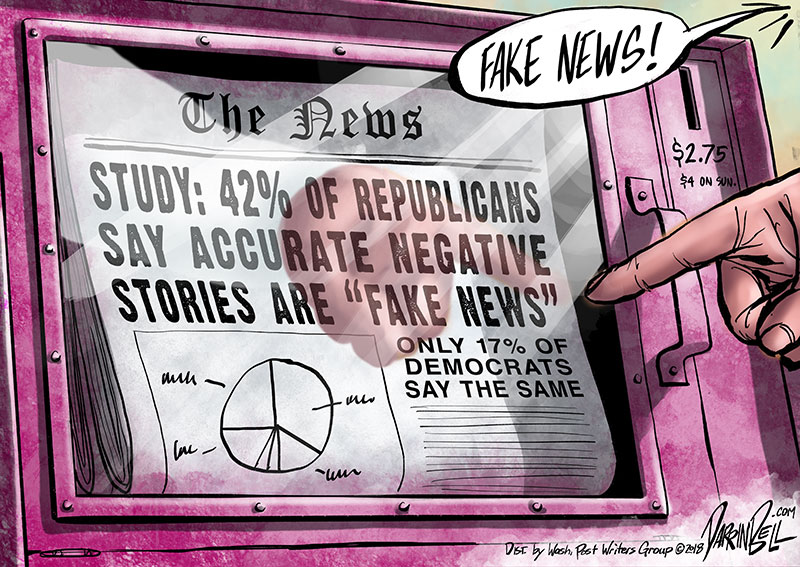 """42% of Republicans believe negative accurate news is """"Fake News"""""""